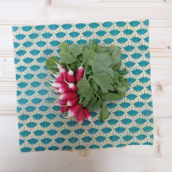 Large GreenCling wraps and a bunch of radishes