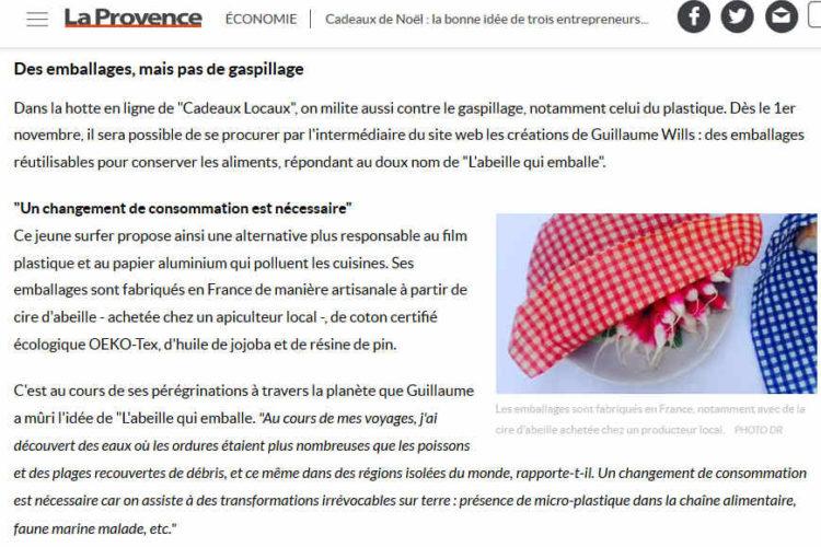 L'abeille qui emballe dans un article de La Provence