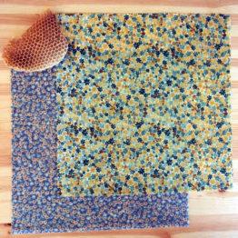 """Pack de 2 grands beeswraps """"duo Couvr'tout"""" de L'abeille qui emballe, collection """"Fleurs des champs"""""""