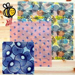 """Pack découverte de bee wraps de L'abeille qui emballe, collection """"Air Marin"""""""