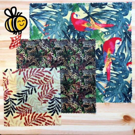 """Pack découverte de bee wraps de L'abeille qui emballe, collection """"Vie sauvage"""""""