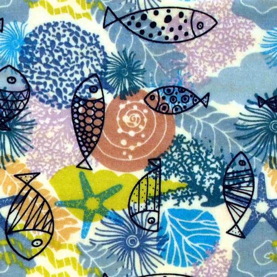 """Collection """"Air marin"""" de beeswraps de L'abeille qui emballe - poissons"""