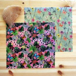 """Pack """"Duo Ecolo"""" de 2 bee wraps de taille medium de L'abeille qui emballe, collection """"Fleurs des champs"""""""